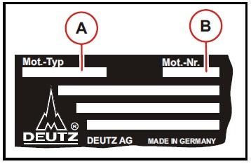 A: Moottorityyppi, B: Moottorin sarjanumero