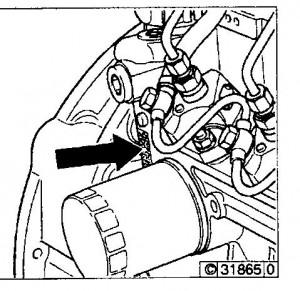 Moottorinumeron sijainti 1011F