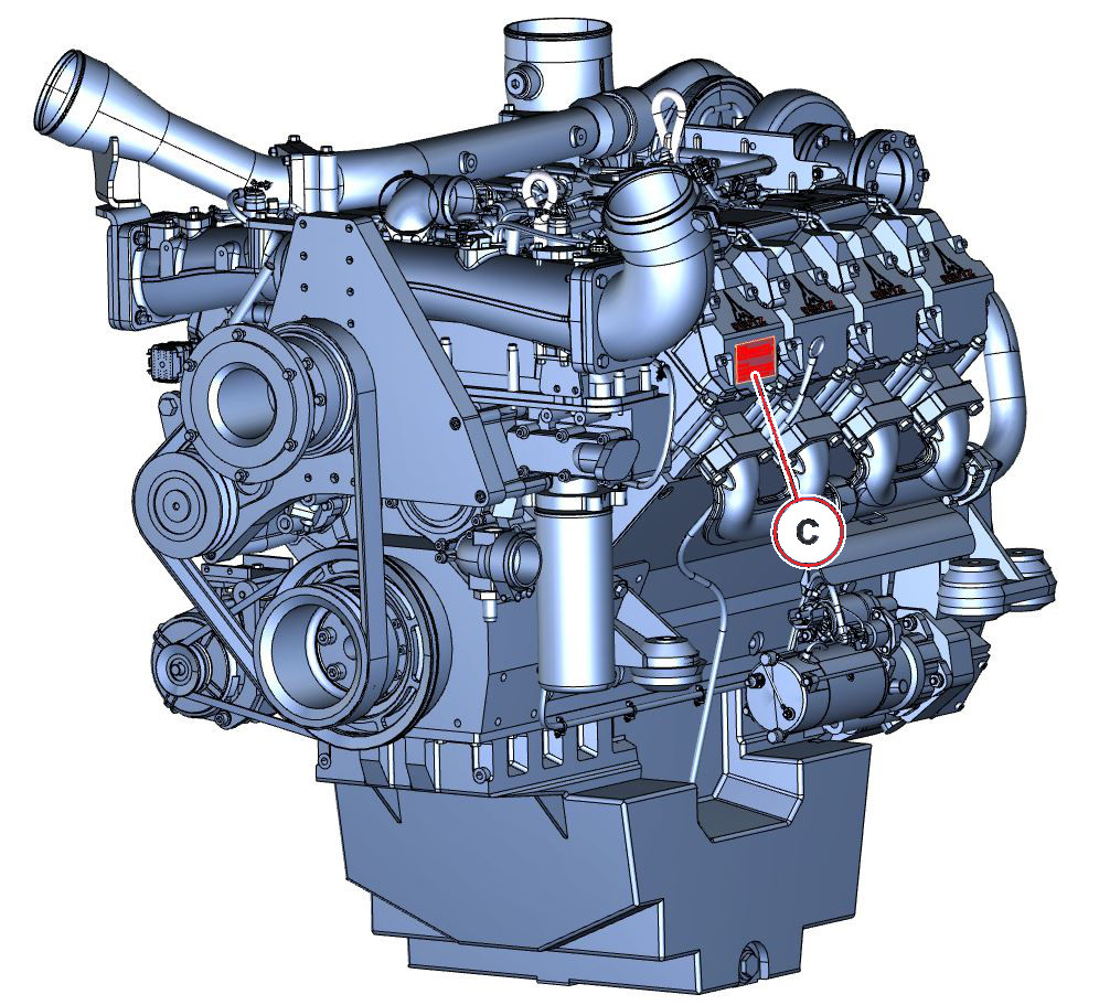 Moottorinumeron sijainti TCD 2015 PP 3