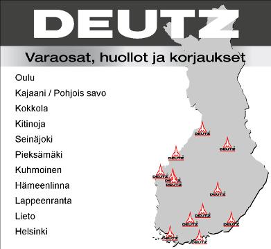 Suomen DEUTZ -huoltoverkosto kartalla