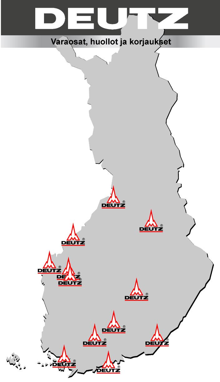 Oulun RK-Palvelu, Oulu, 0443058610 Konehuolto Oikarinen, Kajaani, 0207120320, 08628070 Konehuolto Mikael Sabel, Kokkola, 0400564981 Isokangas Service, Vaasa, 063191810, 0443191876 Louhintahuolto Kallionpää, Kitinoja, 0400366324 Seinäjoen moottorihiomo, Seinäjoki, 064149511 JR-Diesel, Pieksämäki, 0405014792 Kratmo, Kuhmoinen, 0504542999 Hämeen Diesel, Hämeenlinna, 036448612, FAX: 036161072 Huolto-Särkkä, Lappeenranta, 054162654, FAX: 054162700 Tekmep, Lieto, 0504498701, 0103217980 Maahantuoja: Oy Grönblom Ab, 0102868900, deutz@gronblom.fi