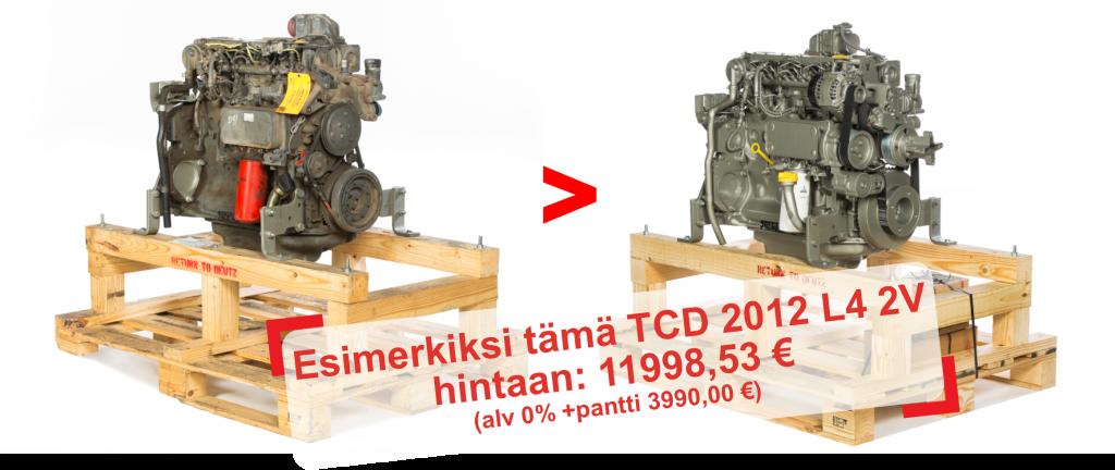 Esimerkiksi tämä TCD 2012 L4 2V hintaan: 11998,53 € (alv 0% +pantti 3990,00 €)